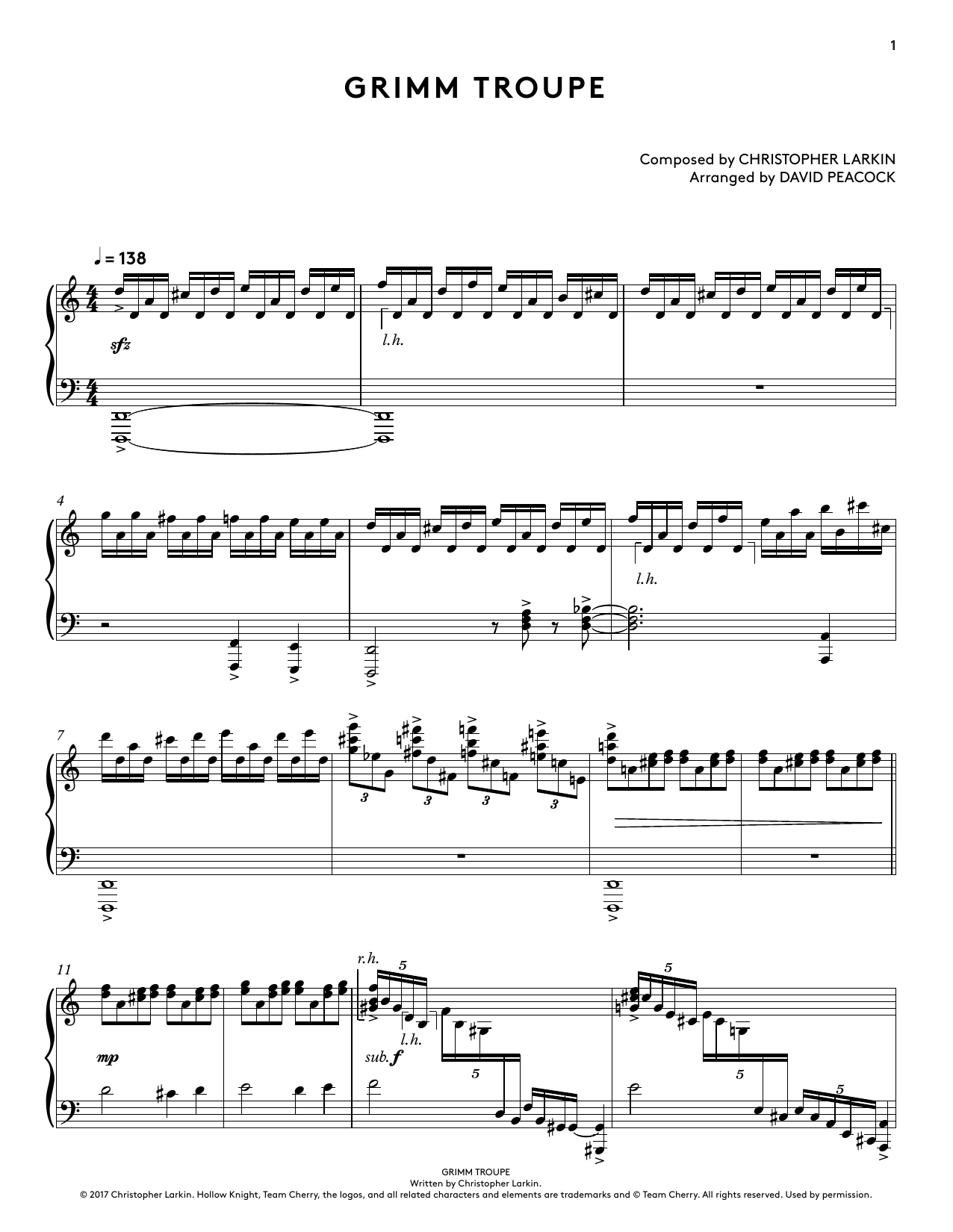 Grimm Troupe (from Hollow Knight Piano Collections) (arr. David Peacock) (Piano Solo)