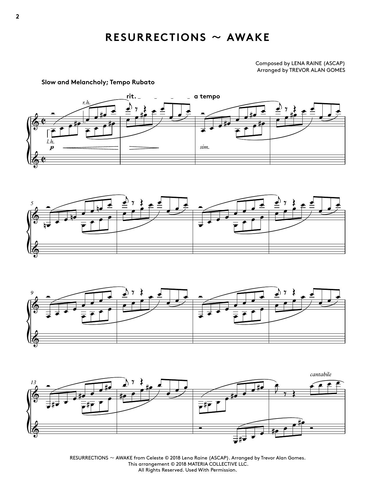 Resurrections - Awake (from Celeste Piano Collections) (arr. Trevor Alan Gomes) (Piano Solo)