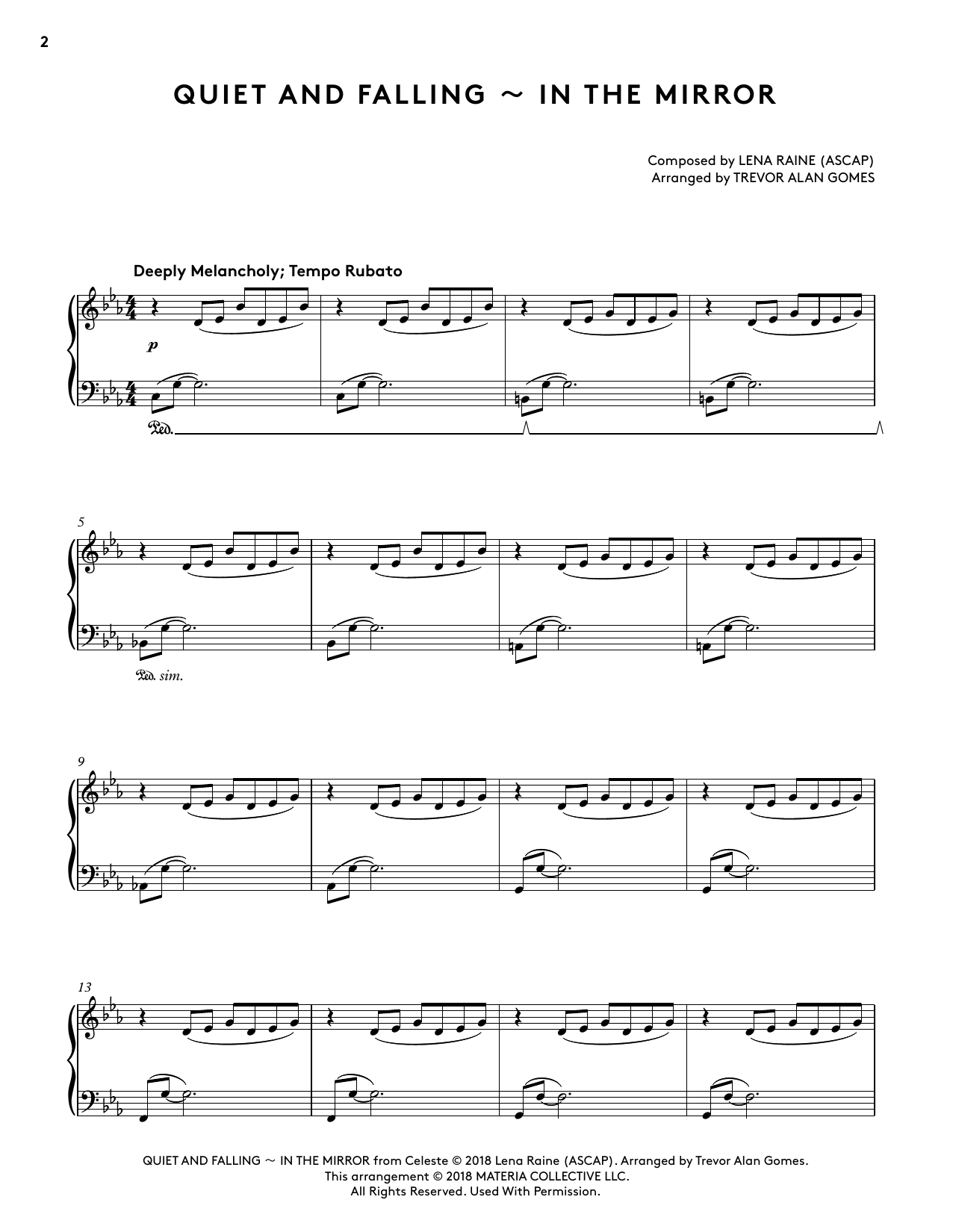 Quiet And Falling - In The Mirror (from Celeste Piano Collections) (arr. Trevor Alan Gomes) (Piano Solo)