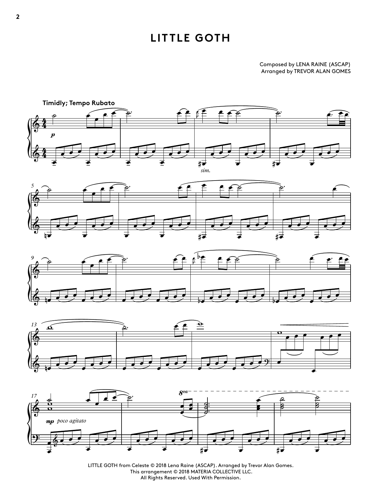 Little Goth (from Celeste Piano Collections) (arr. Trevor Alan Gomes) (Piano Solo)