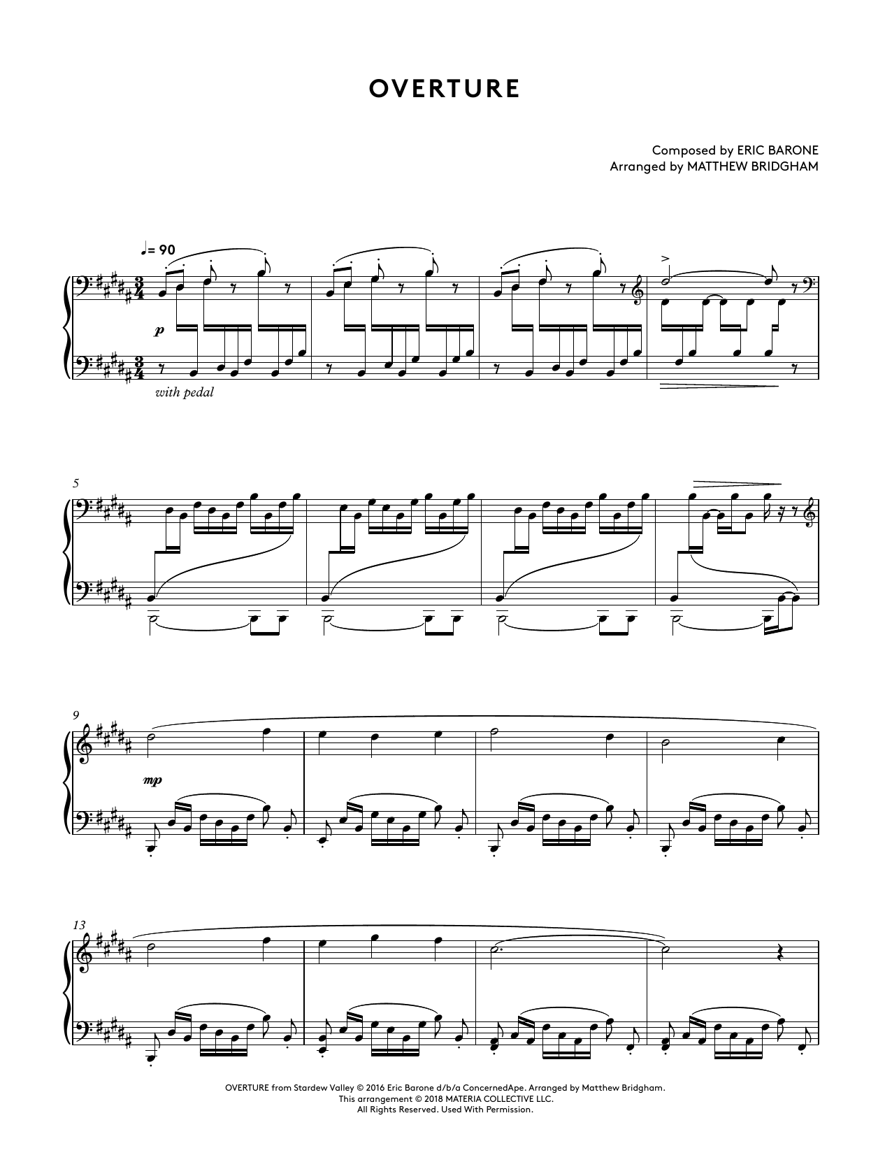 Overture (from Stardew Valley Piano Collections) (arr. Matthew Bridgham) (Piano Solo)