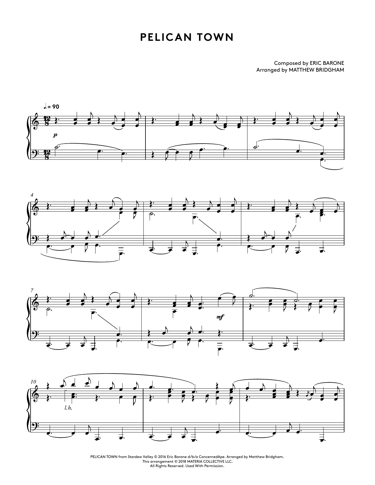 Pelican Town (from Stardew Valley Piano Collections) (arr. Matthew Bridgham) (Piano Solo)