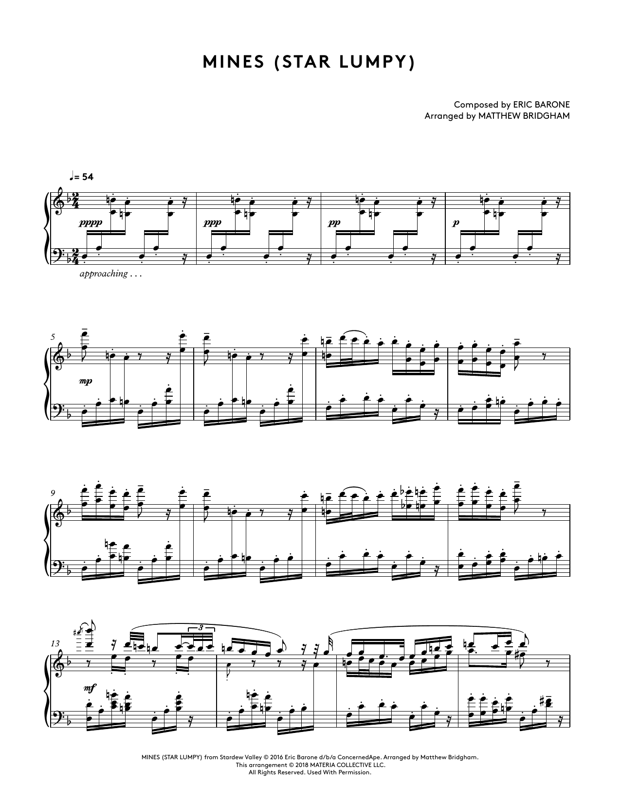 Mines (Star Lumpy) (from Stardew Valley Piano Collections) (arr. Matthew Bridgham) (Piano Solo)