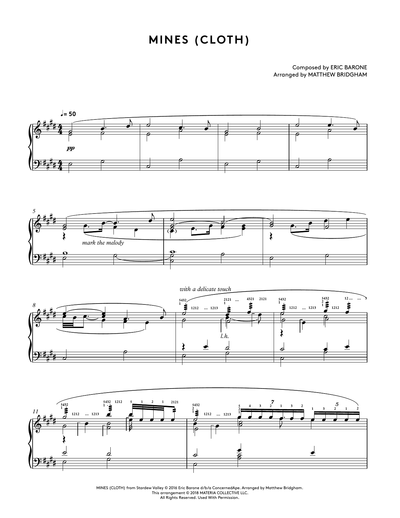 Mines (Cloth) (from Stardew Valley Piano Collections) (arr. Matthew Bridgham) (Piano Solo)