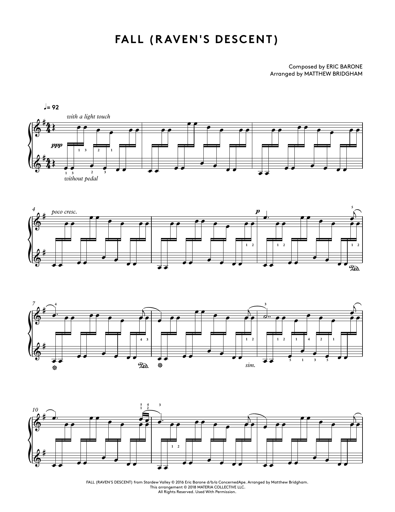 Fall (Raven's Descent) (from Stardew Valley Piano Collections) (arr. Matthew Bridgham) (Piano Solo)