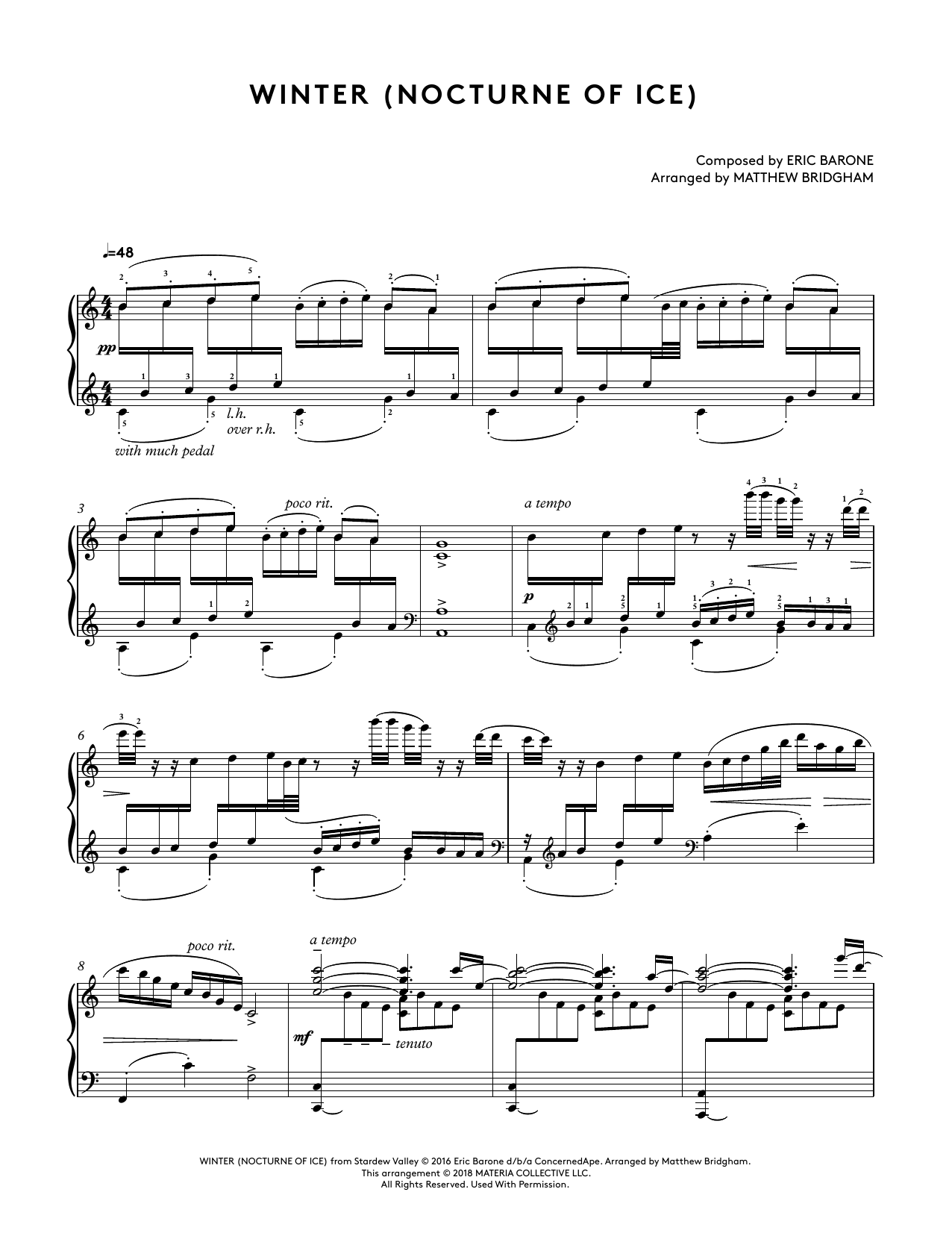 Winter (Nocturne Of Ice) (from Stardew Valley Piano Collections) (arr. Matthew Bridgham) (Piano Solo)