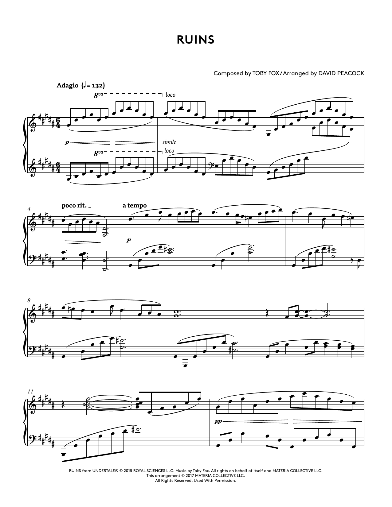 Ruins (from Undertale Piano Collections 2) (arr. David Peacock) (Piano Solo)