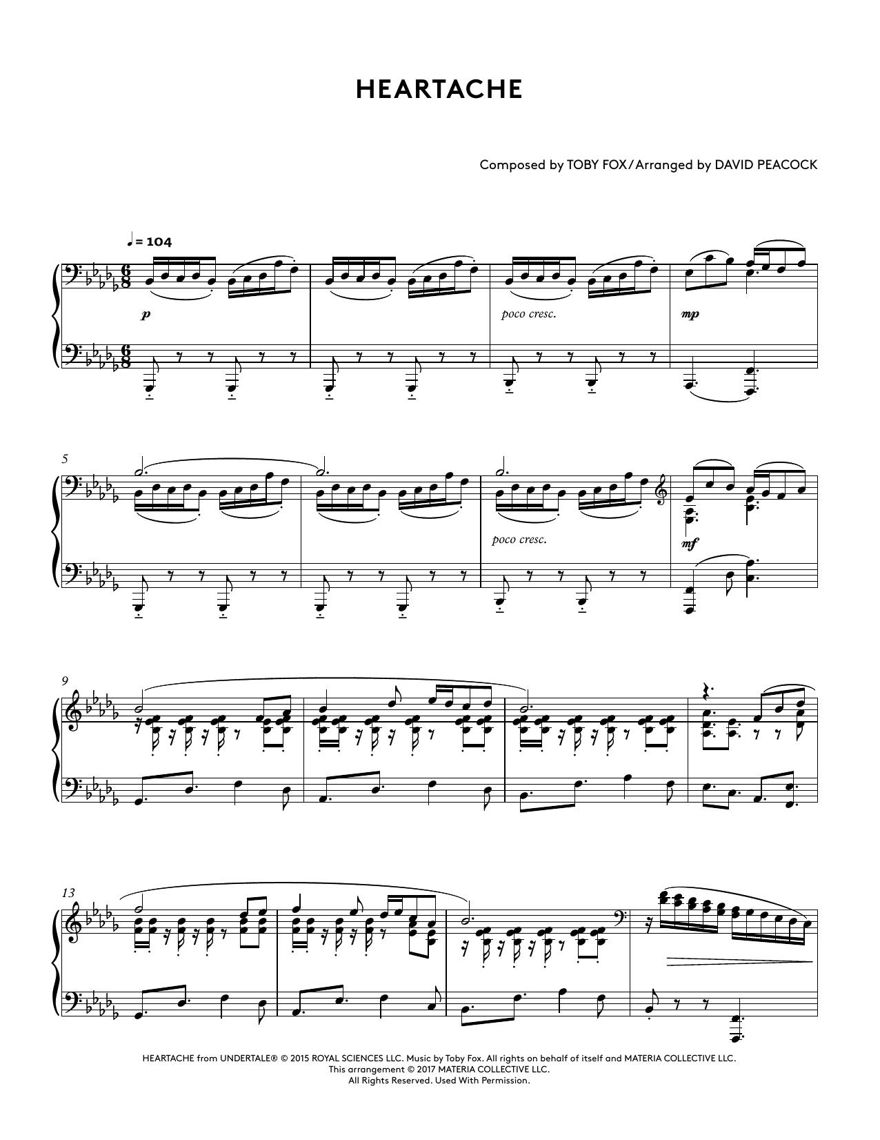Heartache (from Undertale Piano Collections 2) (arr. David Peacock) (Piano Solo)
