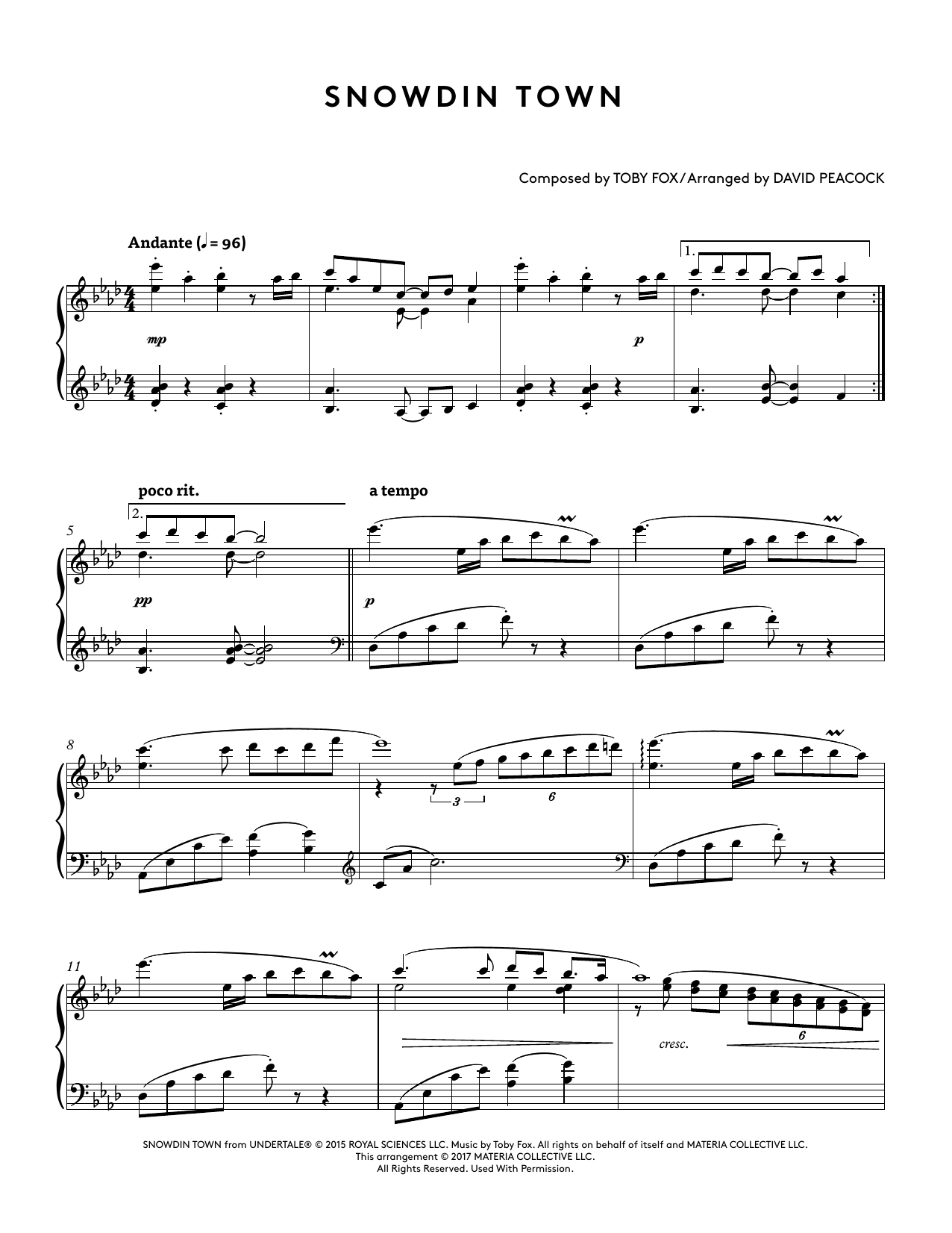 Snowdin Town (from Undertale Piano Collections 2) (arr. David Peacock) (Piano Solo)