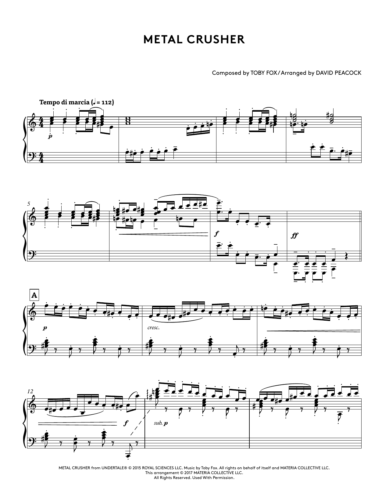 Metal Crusher (from Undertale Piano Collections 2) (arr. David Peacock) (Piano Solo)