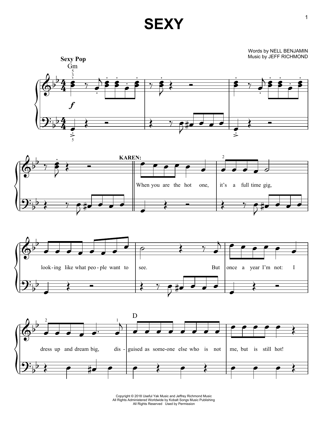 Sexy (from Mean Girls: The Broadway Musical) (Easy Piano)