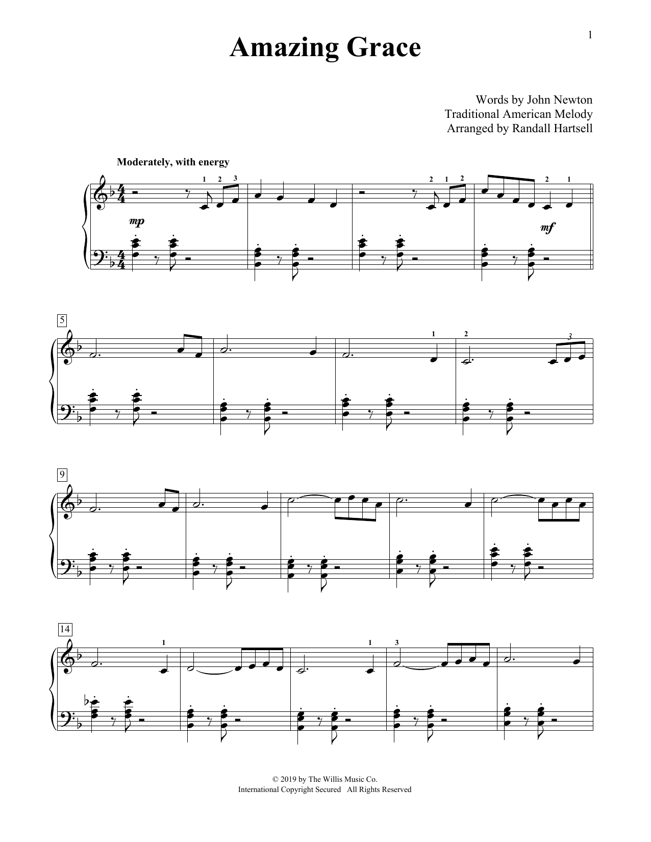 Amazing Grace (arr. Randall Hartsell) (Educational Piano)