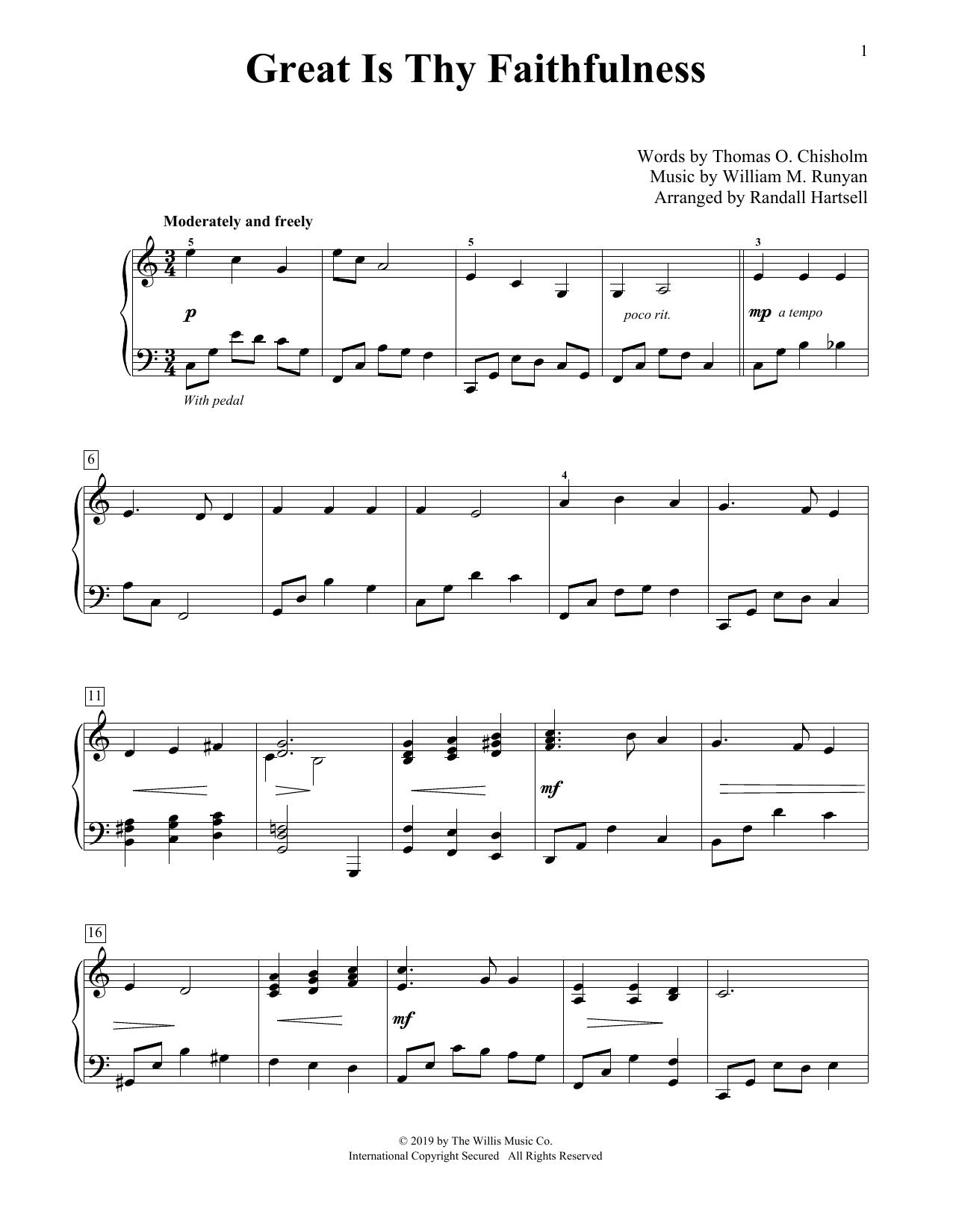 Great Is Thy Faithfulness (arr. Randall Hartsell) (Educational Piano)