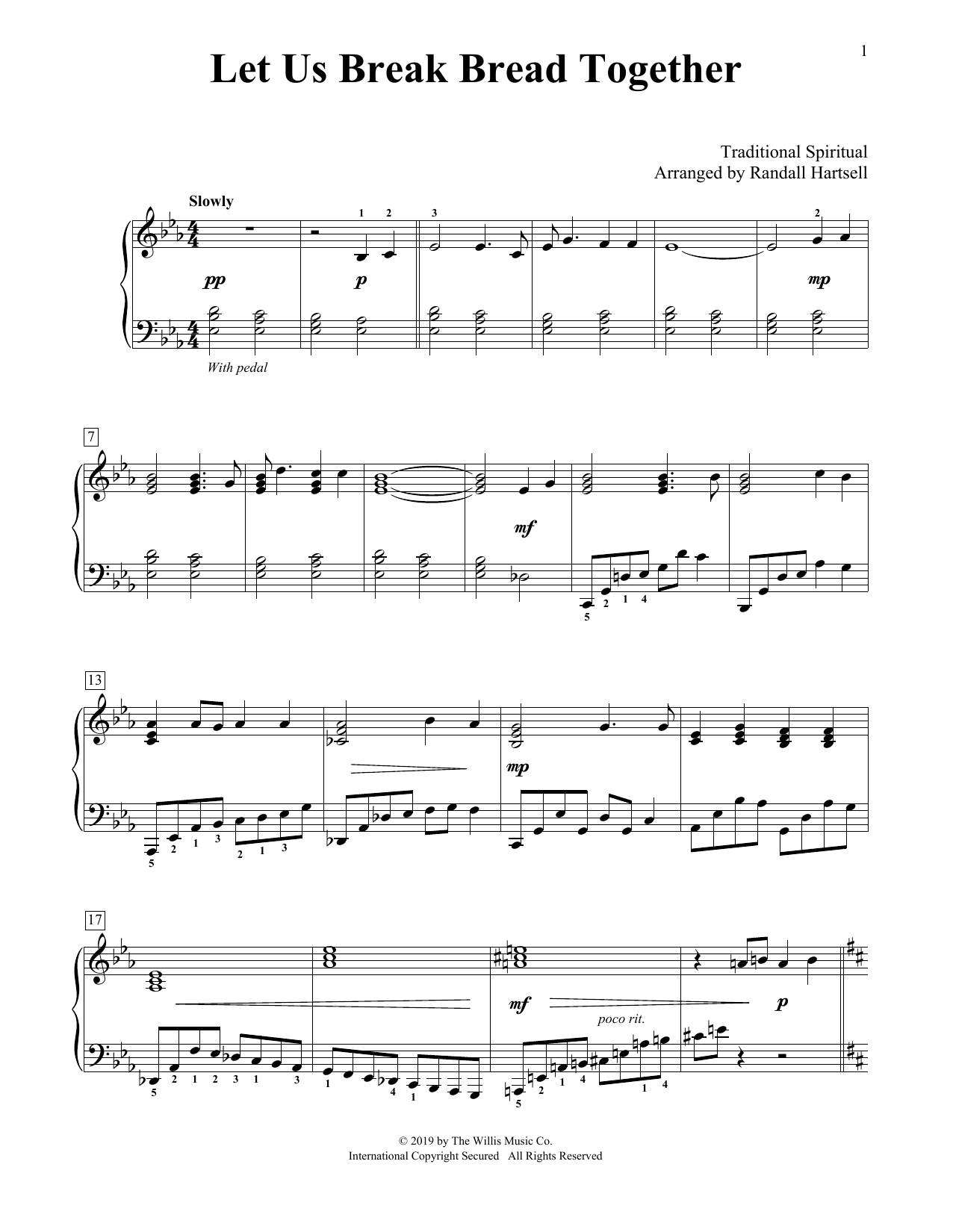 Let Us Break Bread Together (arr. Randall Hartsell) (Educational Piano)