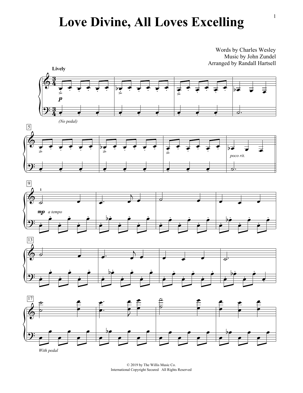 Love Divine, All Loves Excelling (arr. Randall Hartsell) (Educational Piano)