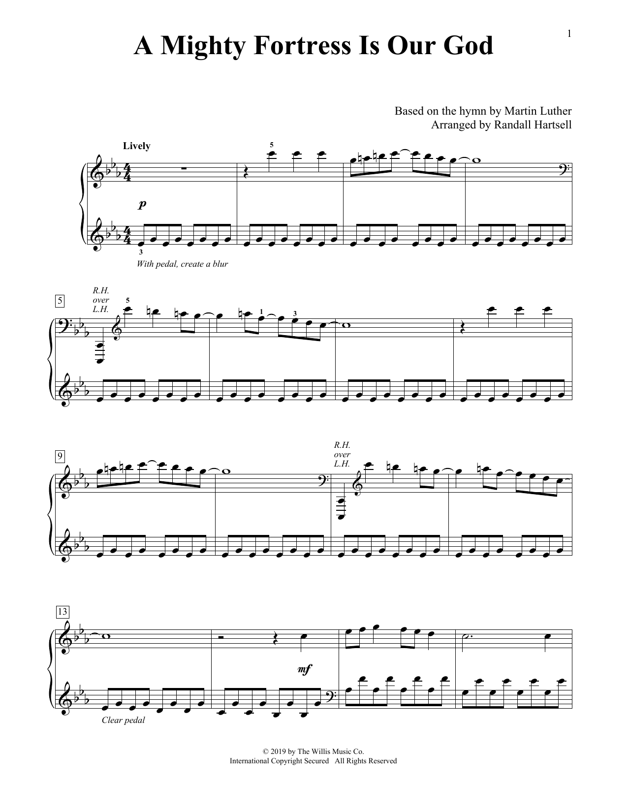 A Mighty Fortress Is Our God (arr. Randall Hartsell) (Educational Piano)
