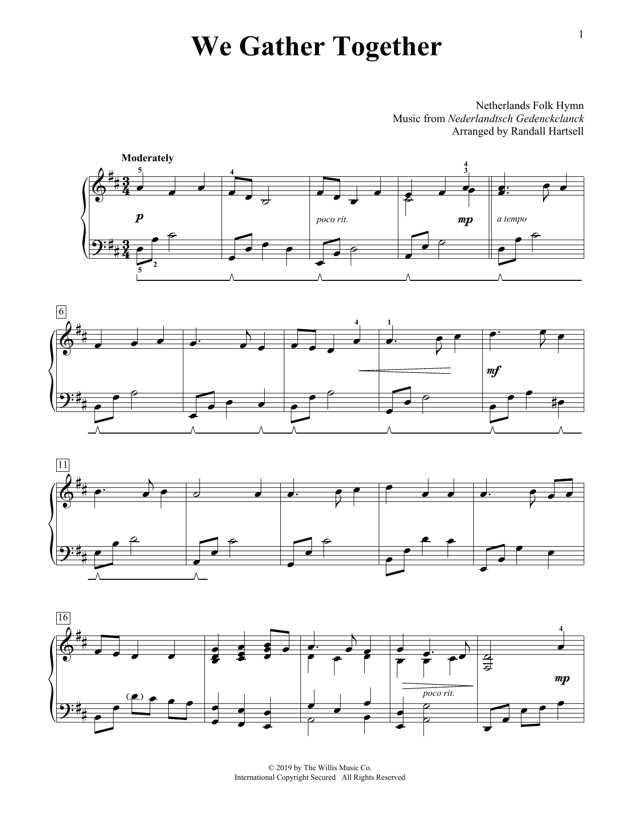 We Gather Together (arr. Randall Hartsell) (Educational Piano)