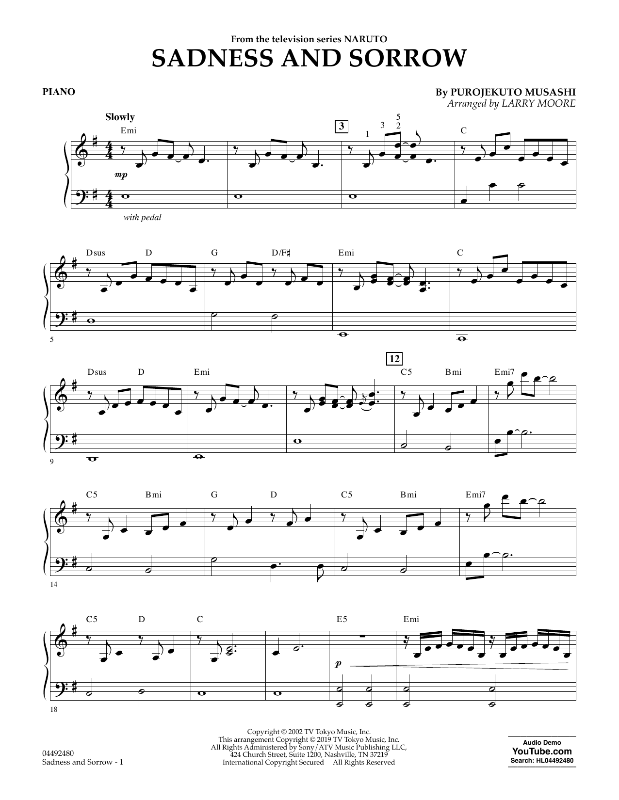 Sadness And Sorrow (from Naruto) (arr. Larry Moore) - Piano (Orchestra)