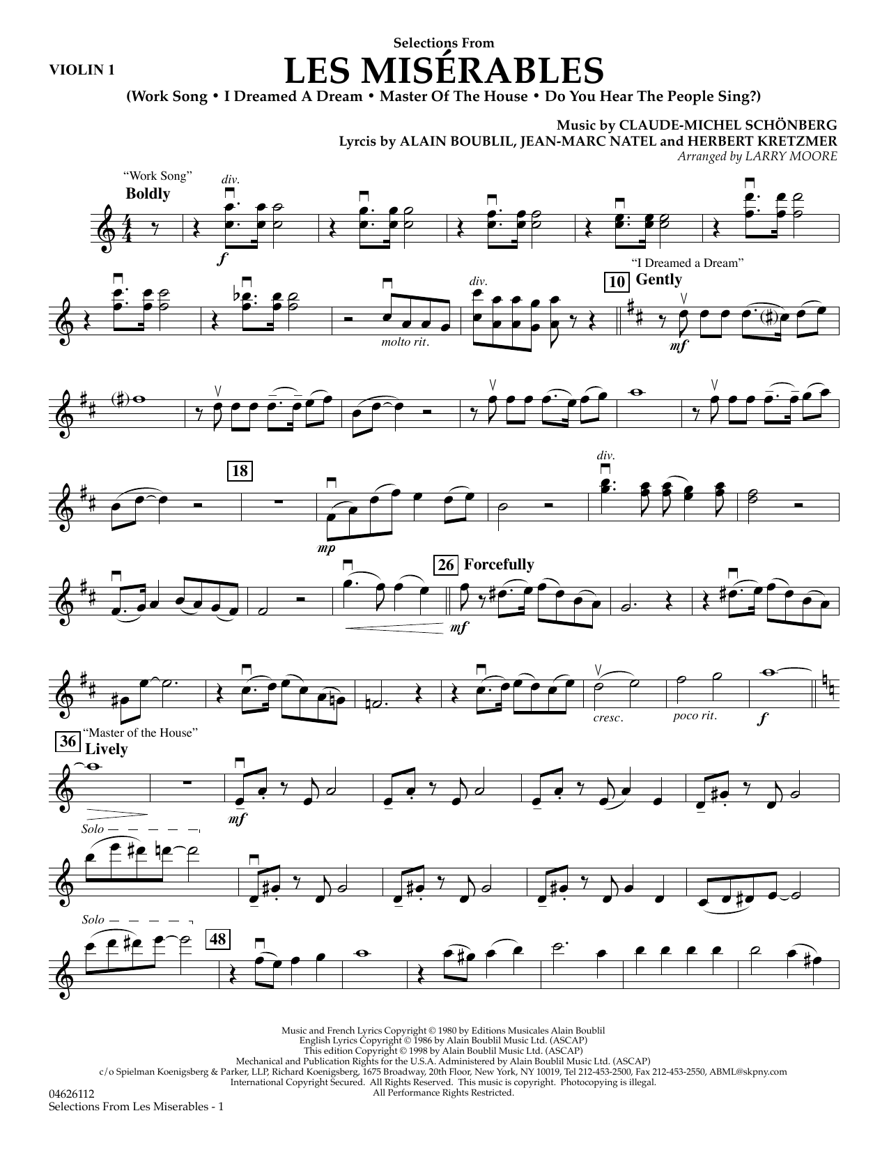 Selections from Les Misérables (arr. Larry Moore) - Violin 1 (Orchestra)