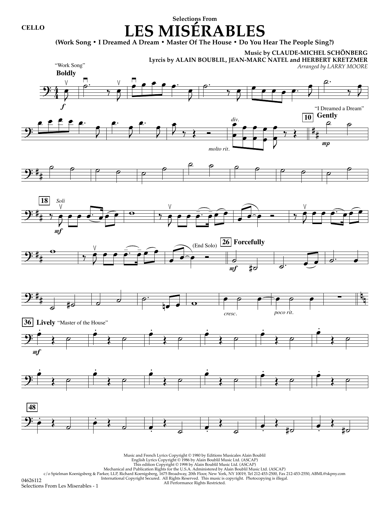 Selections from Les Misérables (arr. Larry Moore) - Cello (Orchestra)