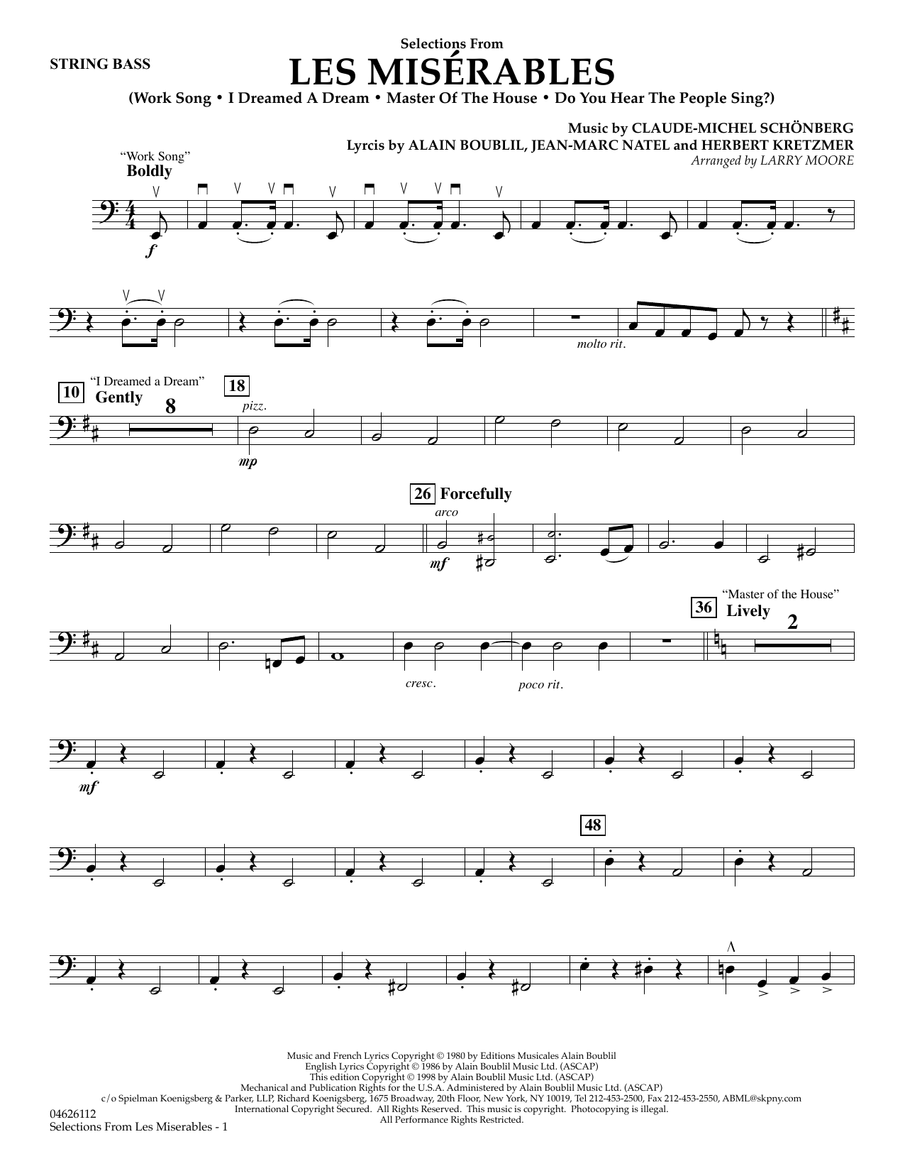 Selections from Les Misérables (arr. Larry Moore) - String Bass (Orchestra)