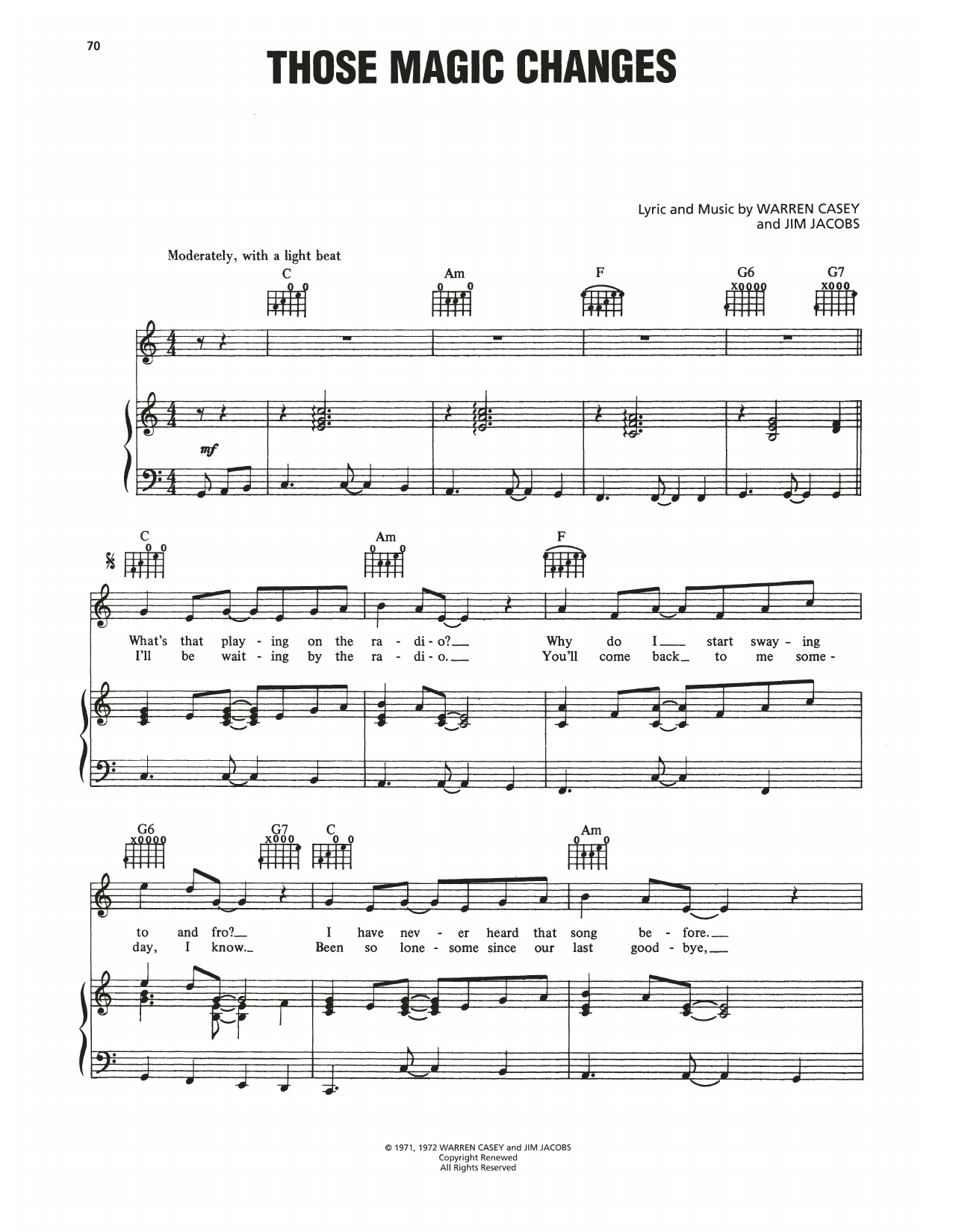 Those Magic Changes (from Grease) (Piano, Vocal & Guitar (Right-Hand Melody))