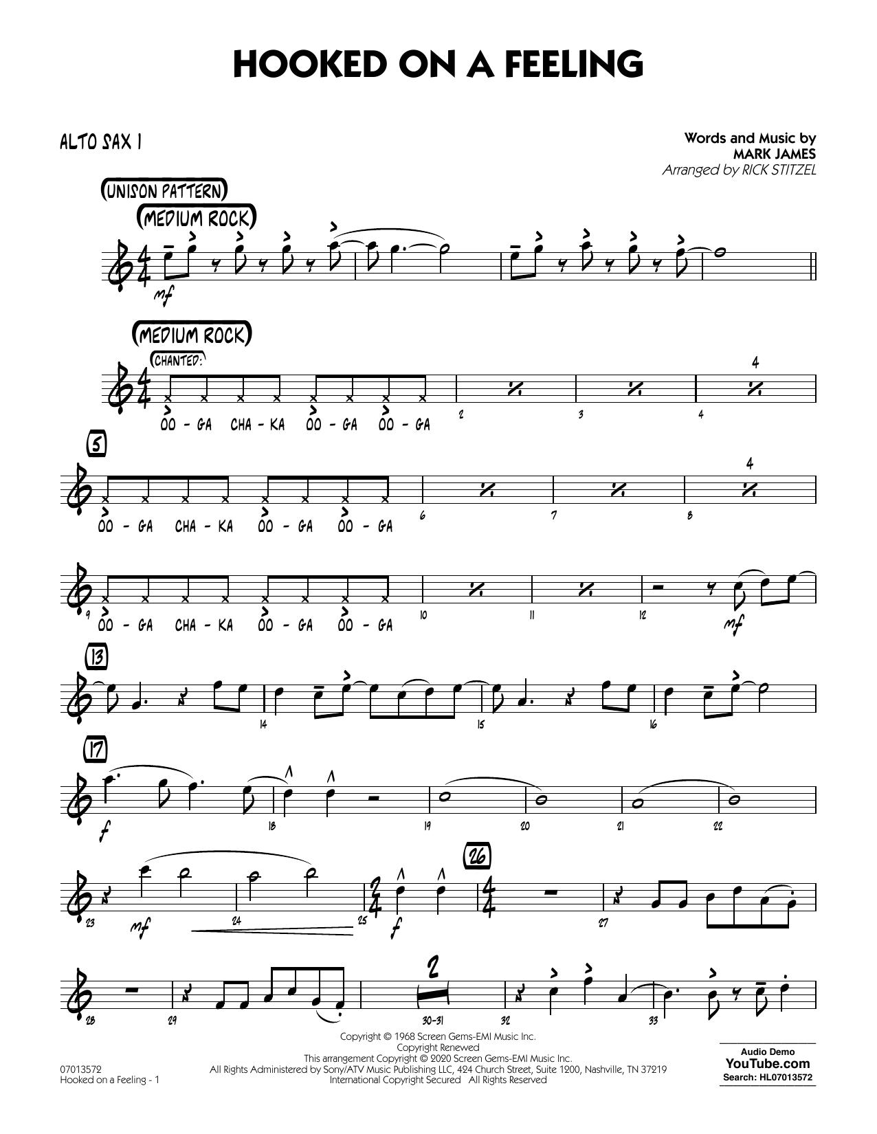 Hooked On A Feeling (arr. Rick Stitzel) - Alto Sax 1 (Jazz Ensemble)