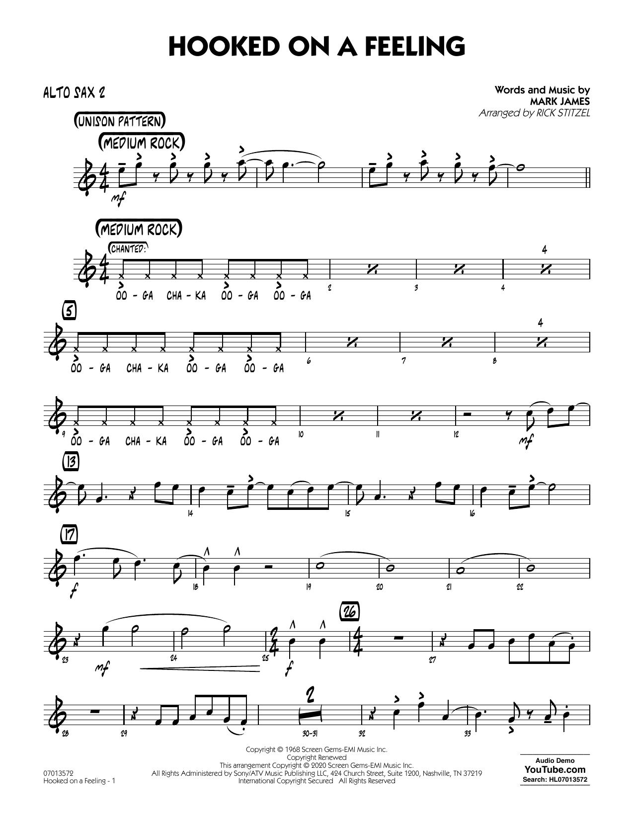Hooked On A Feeling (arr. Rick Stitzel) - Alto Sax 2 (Jazz Ensemble)