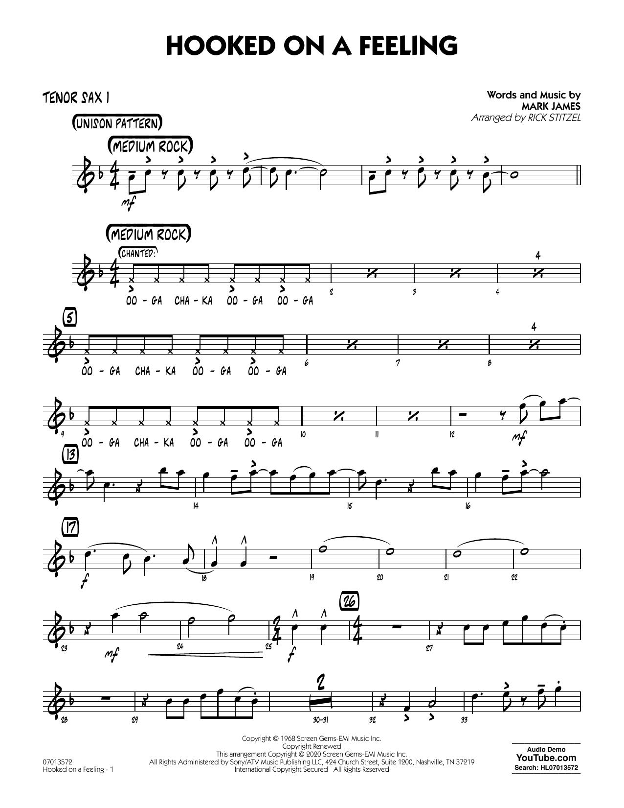 Hooked On A Feeling (arr. Rick Stitzel) - Tenor Sax 1 (Jazz Ensemble)