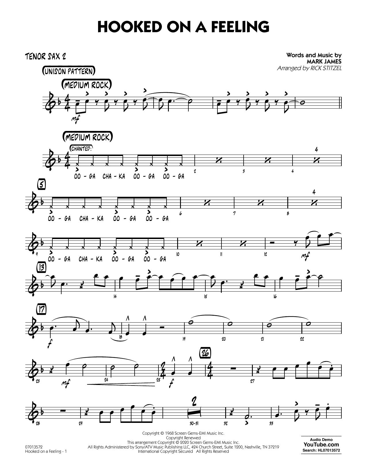 Hooked On A Feeling (arr. Rick Stitzel) - Tenor Sax 2 (Jazz Ensemble)
