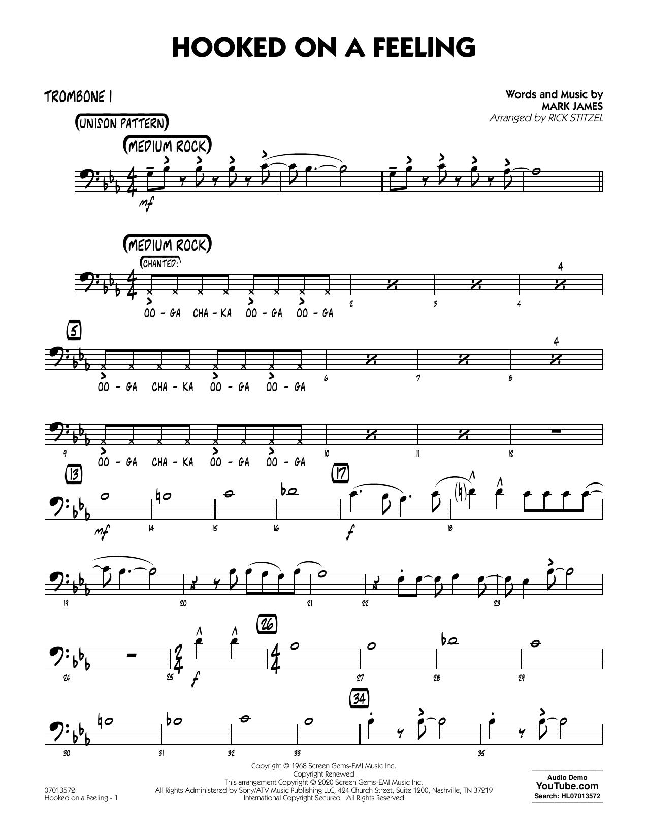 Hooked On A Feeling (arr. Rick Stitzel) - Trombone 1 (Jazz Ensemble)
