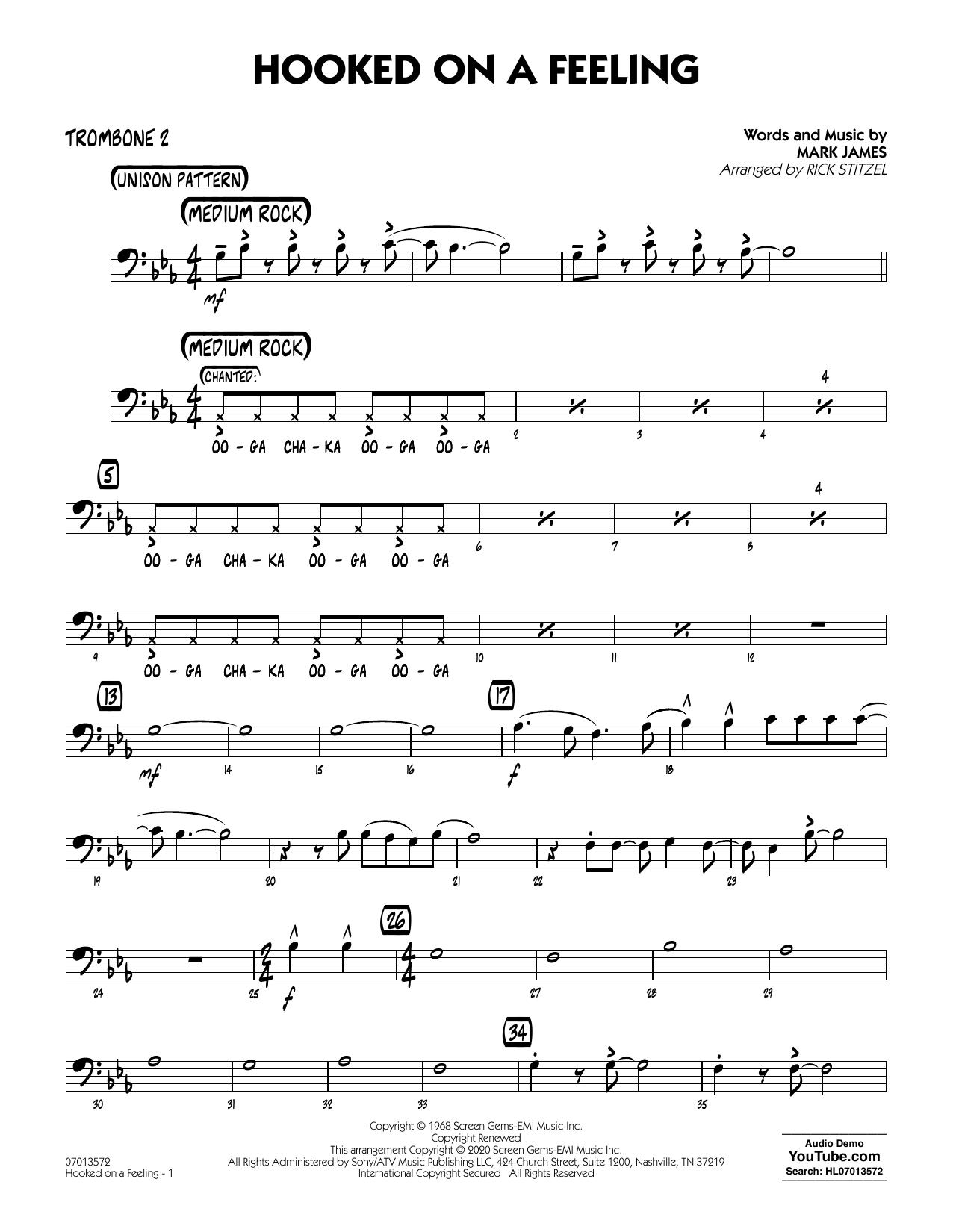 Hooked On A Feeling (arr. Rick Stitzel) - Trombone 2 (Jazz Ensemble)