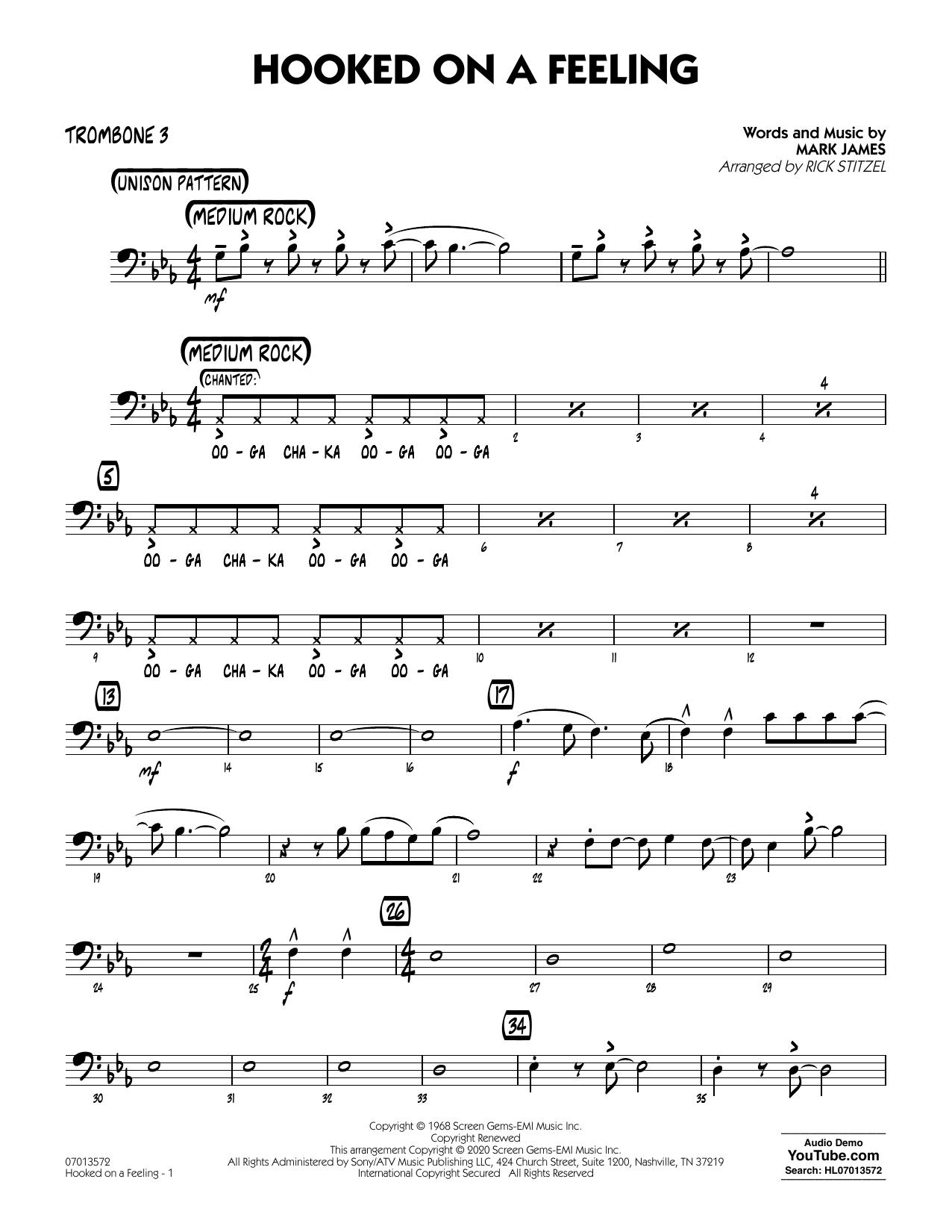 Hooked On A Feeling (arr. Rick Stitzel) - Trombone 3 (Jazz Ensemble)