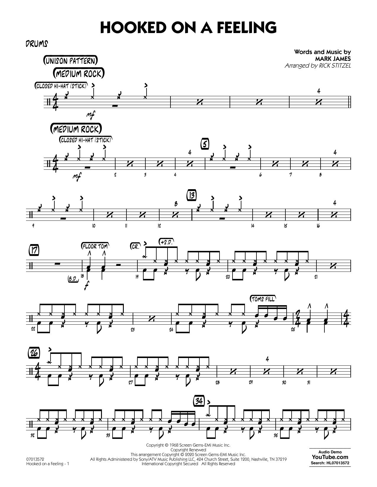 Hooked On A Feeling (arr. Rick Stitzel) - Drums (Jazz Ensemble)