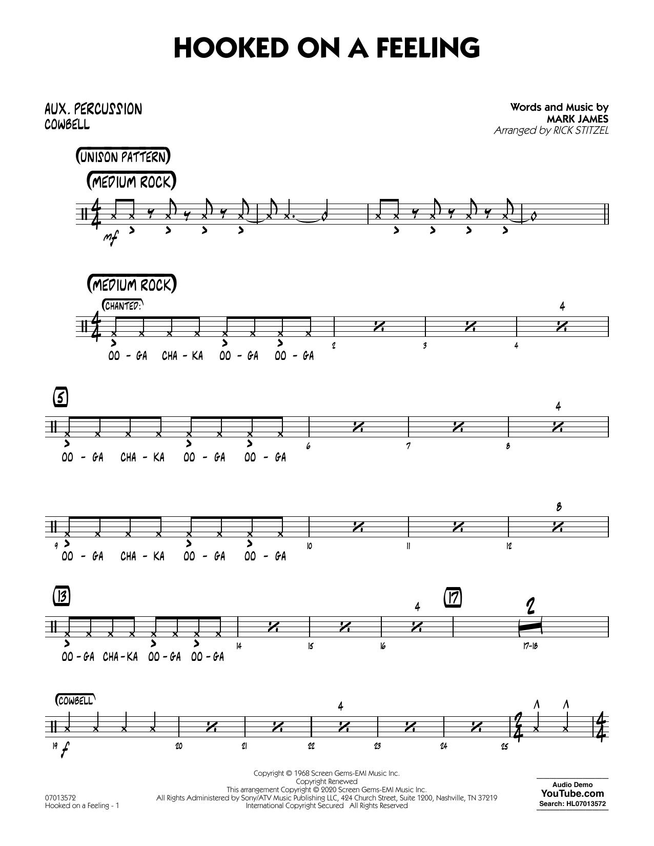 Hooked On A Feeling (arr. Rick Stitzel) - Aux Percussion (Jazz Ensemble)