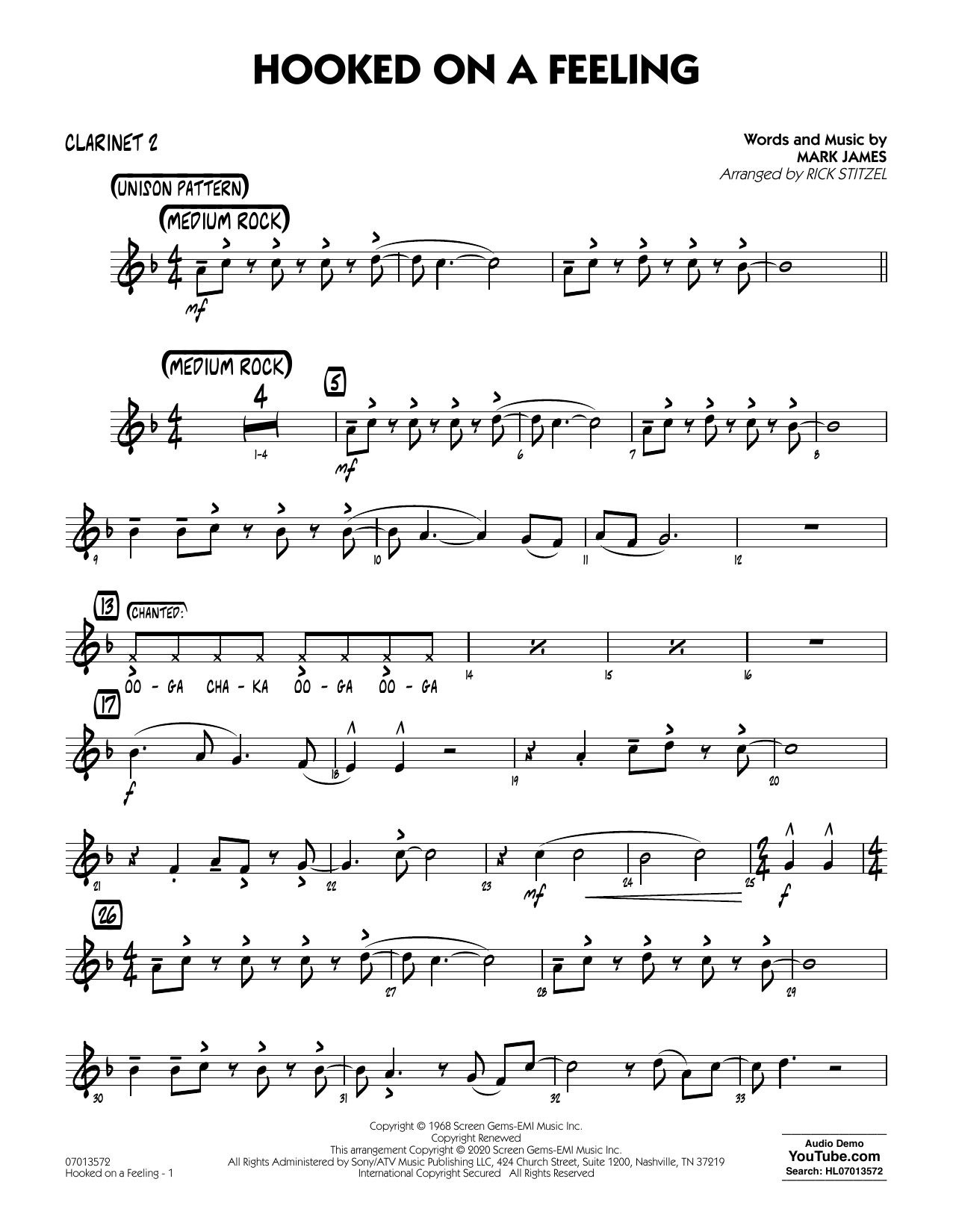 Hooked On A Feeling (arr. Rick Stitzel) - Bb Clarinet 2 (Jazz Ensemble)