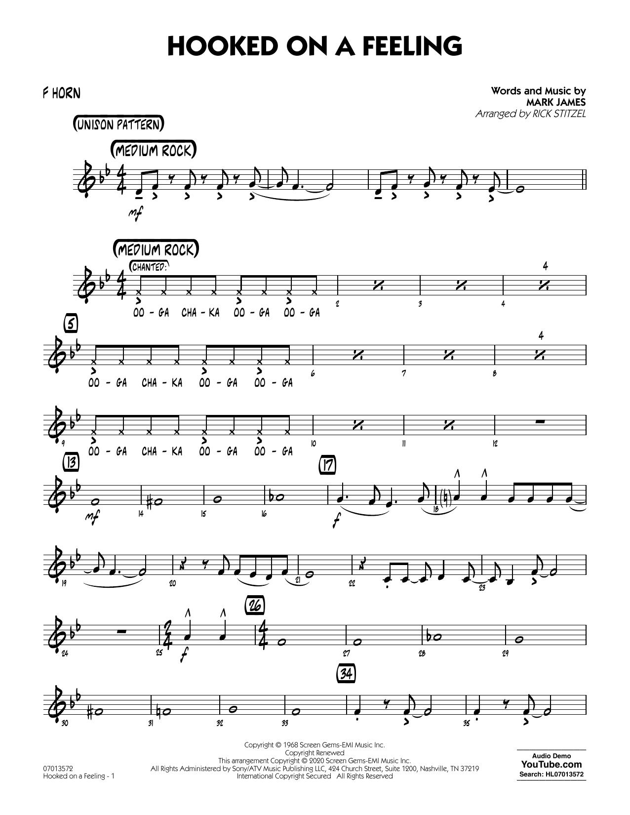 Hooked On A Feeling (arr. Rick Stitzel) - F Horn (Jazz Ensemble)