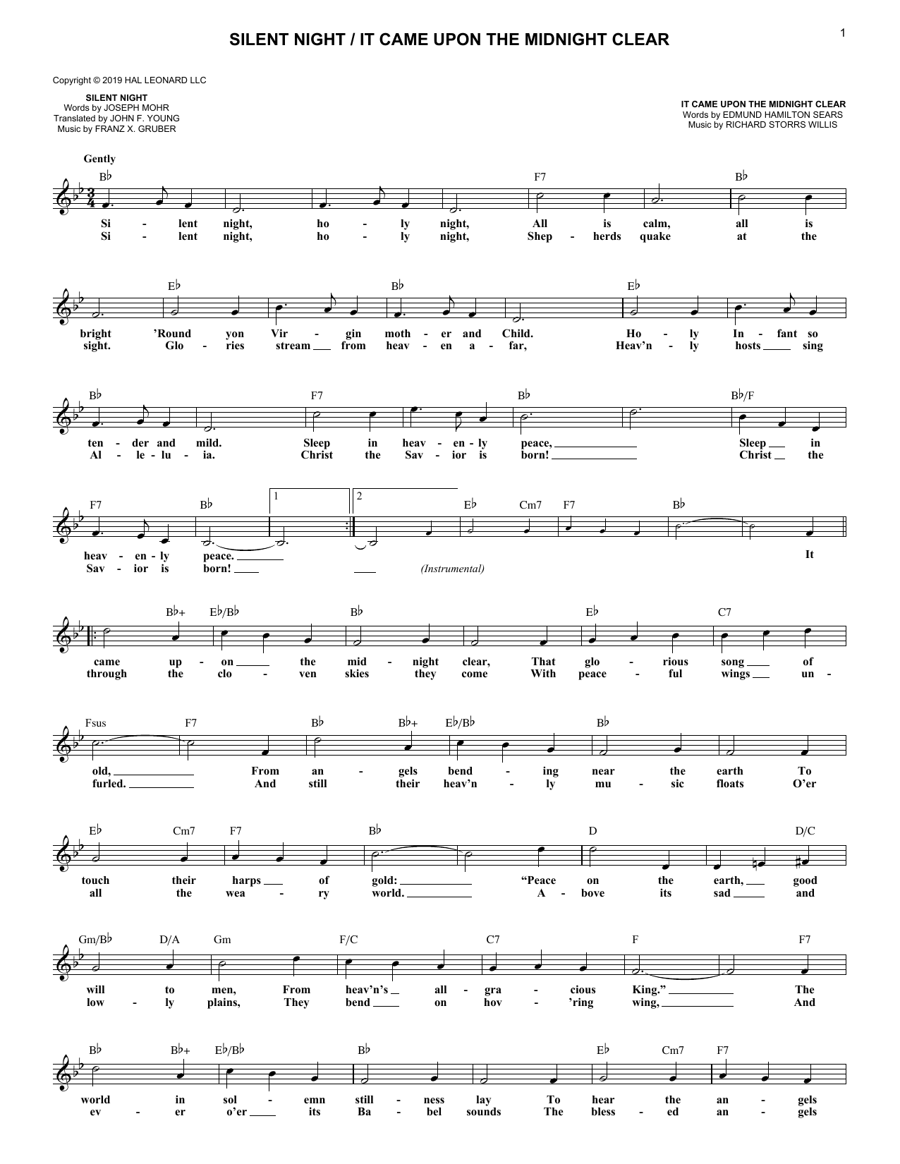 Silent Night / It Came Upon the Midnight Clear (Lead Sheet / Fake Book)