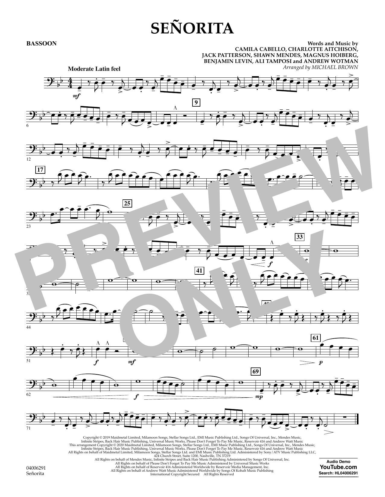Señorita (arr. Michael Brown) - Bassoon (Concert Band)