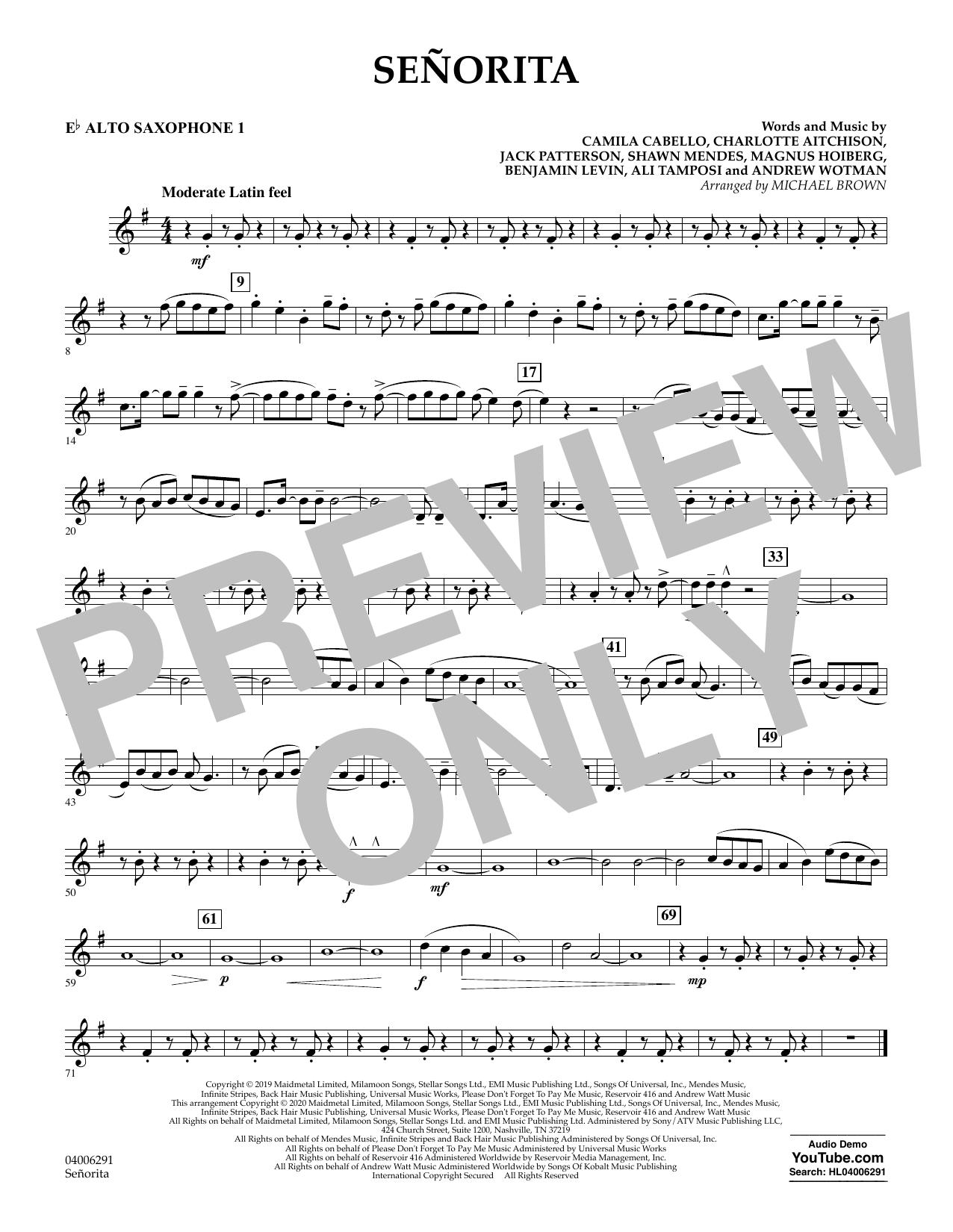 Señorita (arr. Michael Brown) - Eb Alto Saxophone 1 (Concert Band)