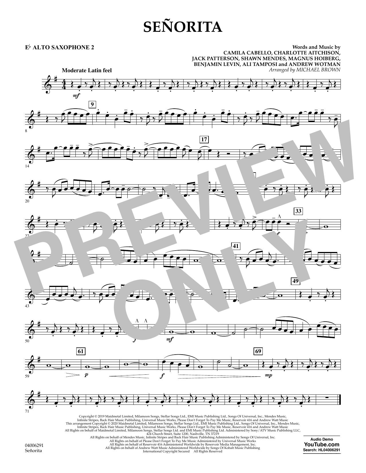 Señorita (arr. Michael Brown) - Eb Alto Saxophone 2 (Concert Band)