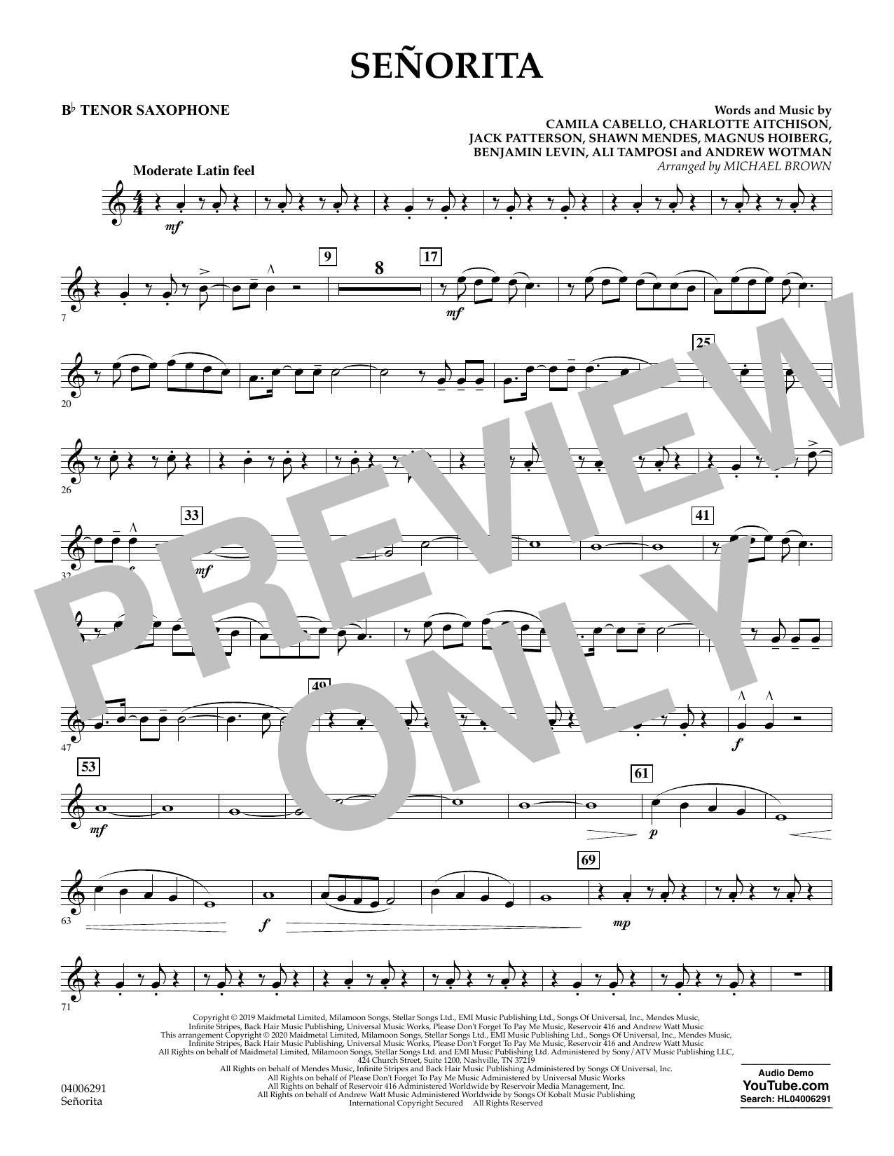 Señorita (arr. Michael Brown) - Bb Tenor Saxophone (Concert Band)