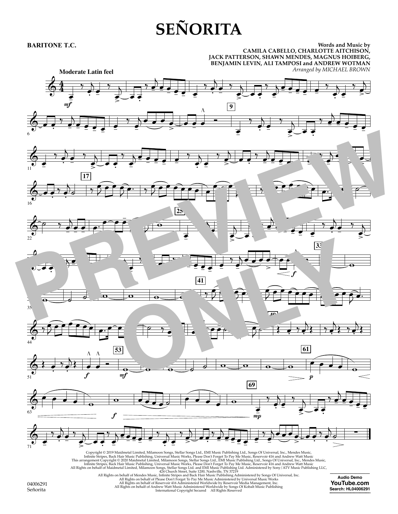 Señorita (arr. Michael Brown) - Baritone T.C. (Concert Band)