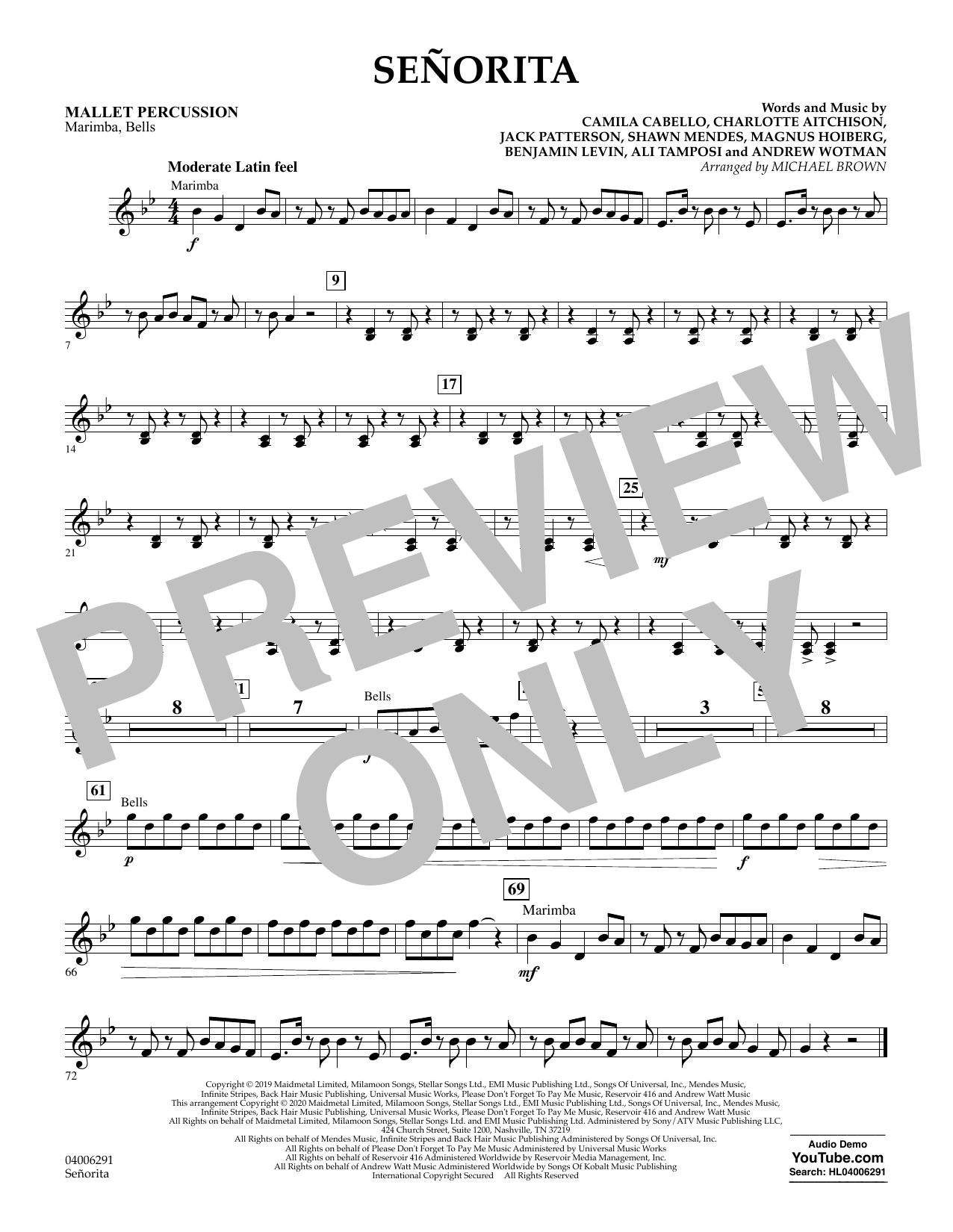 Señorita (arr. Michael Brown) - Mallet Percussion (Concert Band)