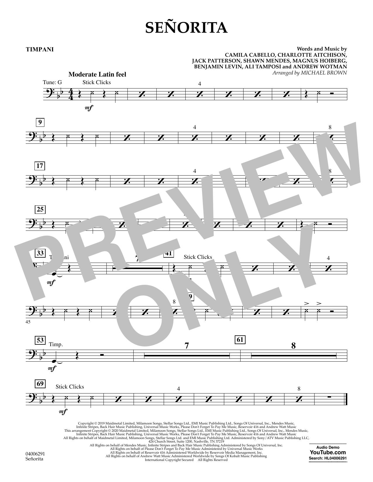 Señorita (arr. Michael Brown) - Timpani (Concert Band)