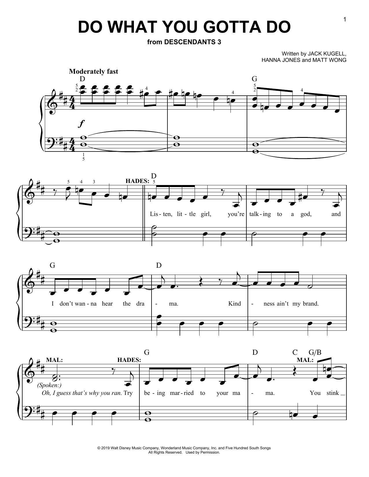 Do What You Gotta Do (from Disney's Descendants 3) (Easy Piano)