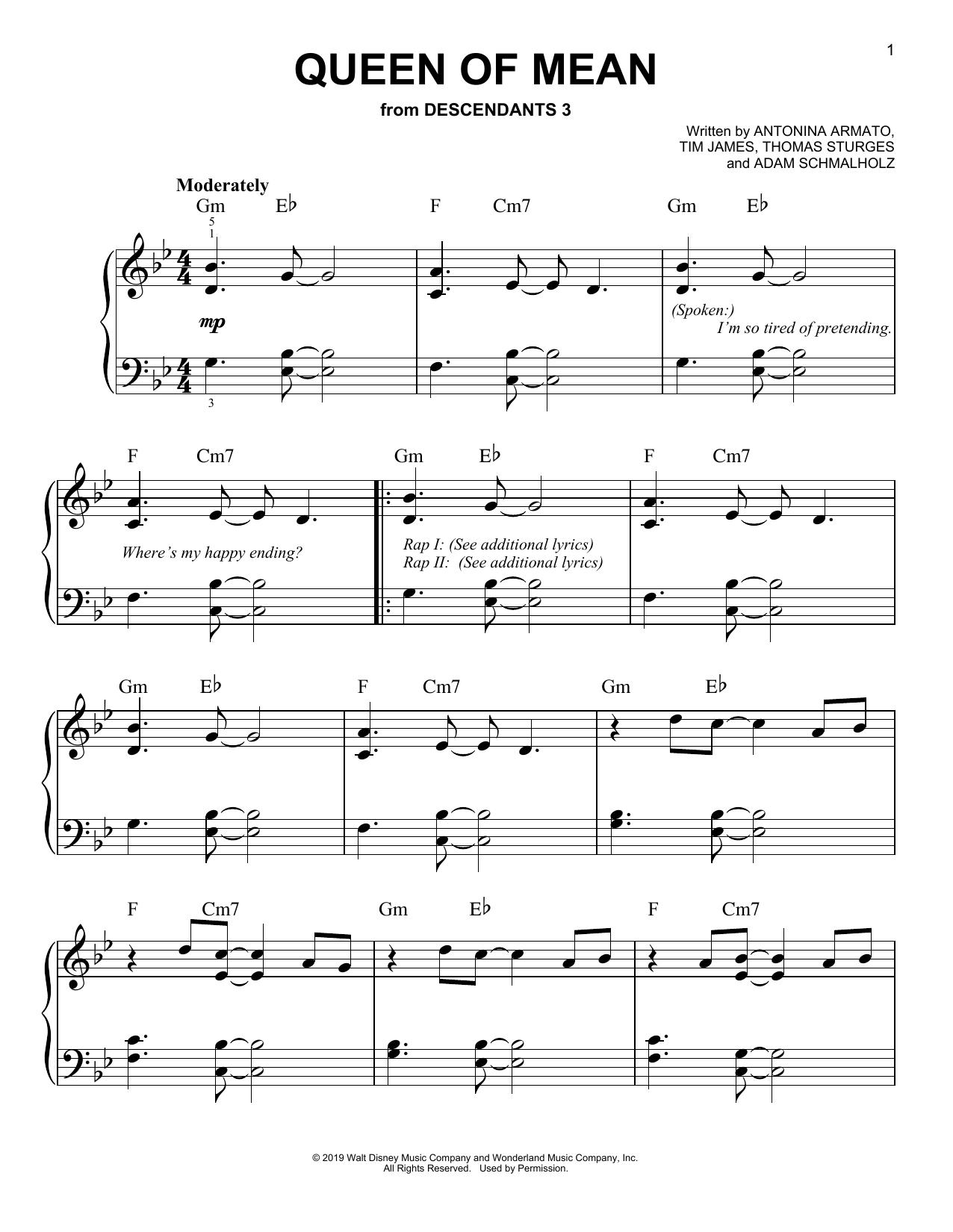 Queen Of Mean (from Disney's Descendants 3) (Easy Piano)