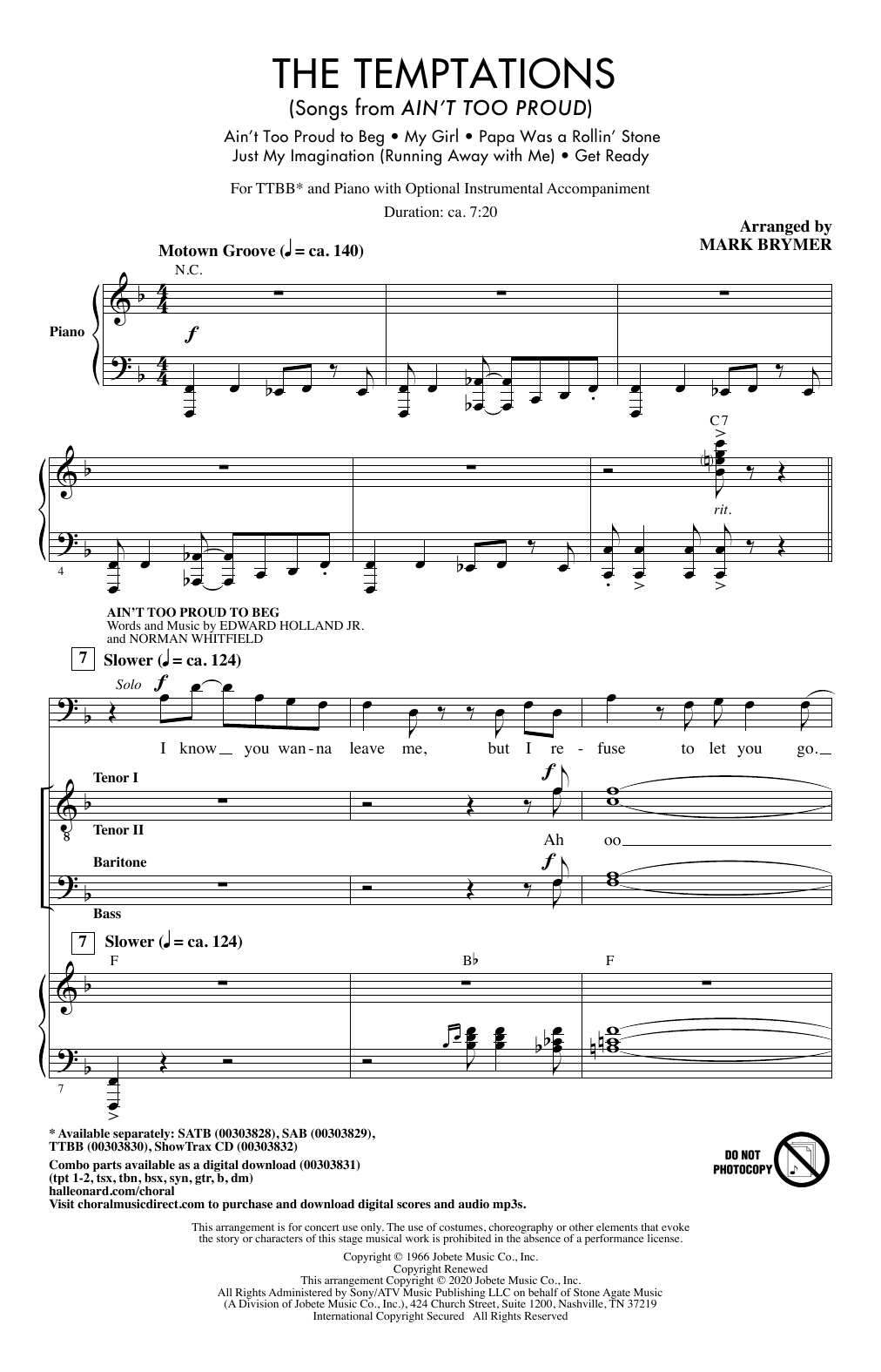 The Temptations (Songs from Ain't Too Proud) (arr. Mark Brymer) (TTBB Choir)