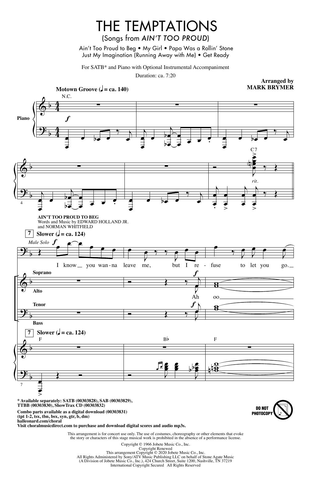 The Temptations (Songs from Ain't Too Proud) (arr. Mark Brymer) (SATB Choir)
