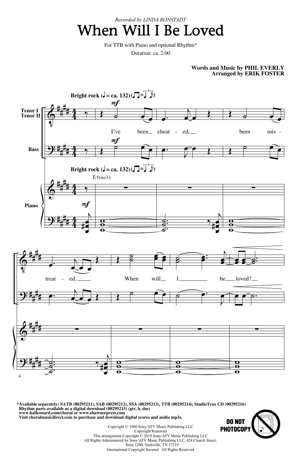 When Will I Be Loved (arr. Erik Foster) (TTBB Choir)